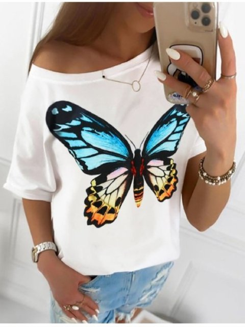Casual Floral-Print Short Sleeve Animal Shirts & Tops