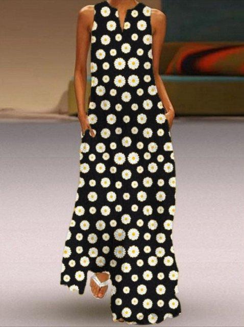 Daisy Print Casual Sleeveless Maxi Dresses