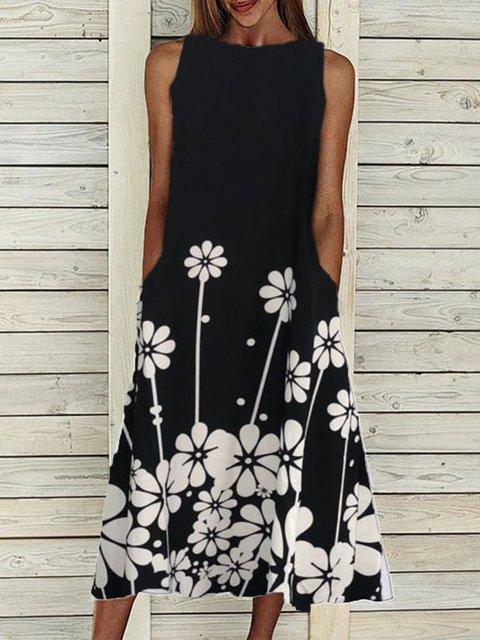 Black Sleeveless Crew Neck Cotton-Blend Dresses
