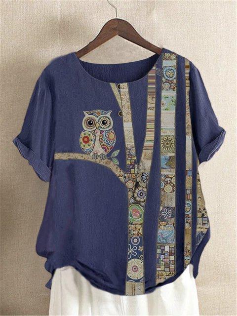 Deep Blue Short Sleeve Vintage Shirts & Tops