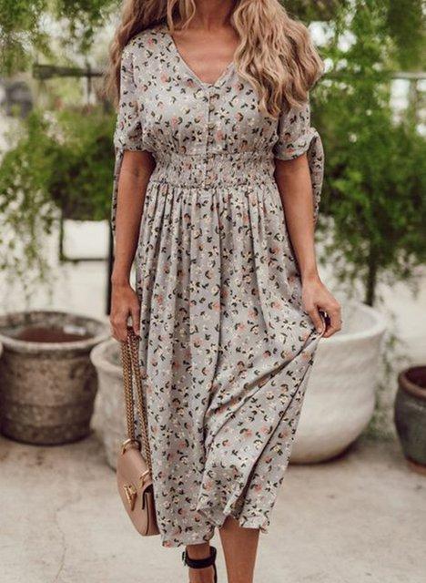 Women Floral Elastic Waist V-Neck Midi Dresses