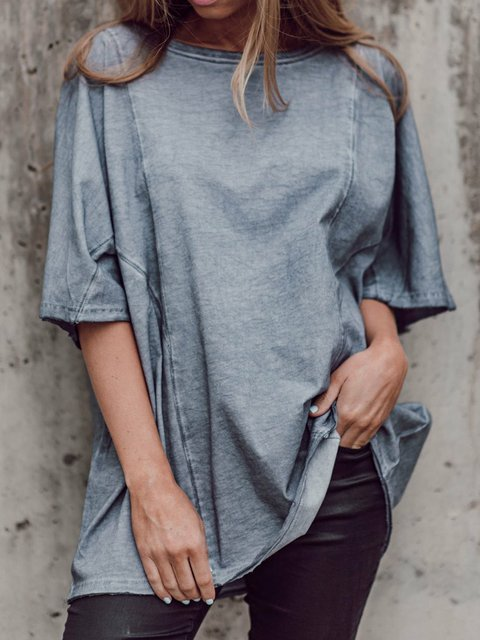 Women Solid Half Sleeves Casual Loose Tops