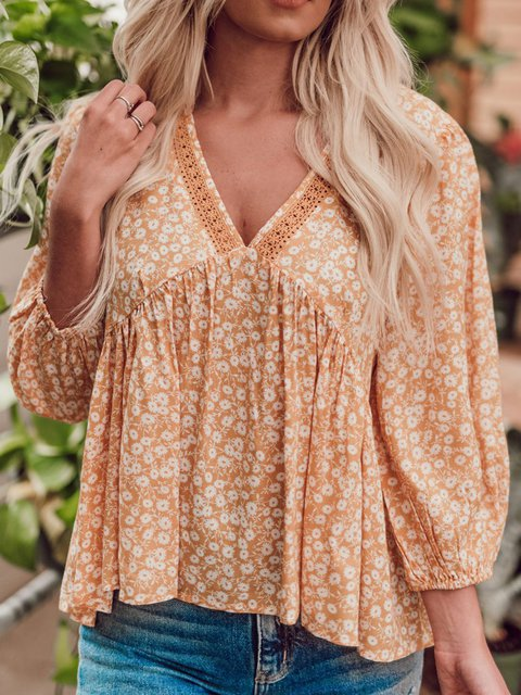 Women Floral V-Neck 3/4 Sleeve Casual Blouses
