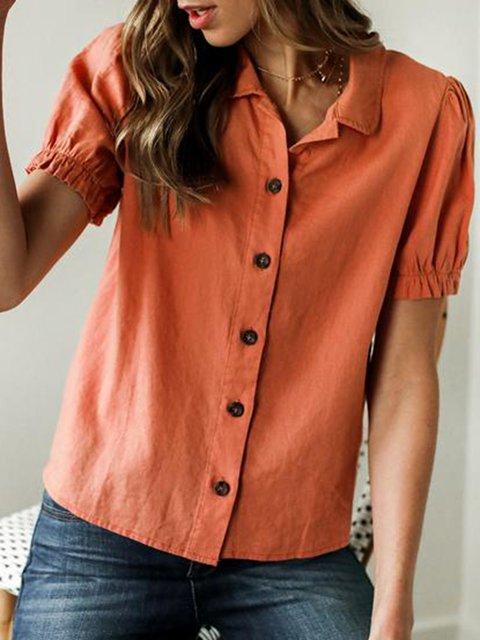 Women Buttoned Shirt Collar Solid Casual Shirts