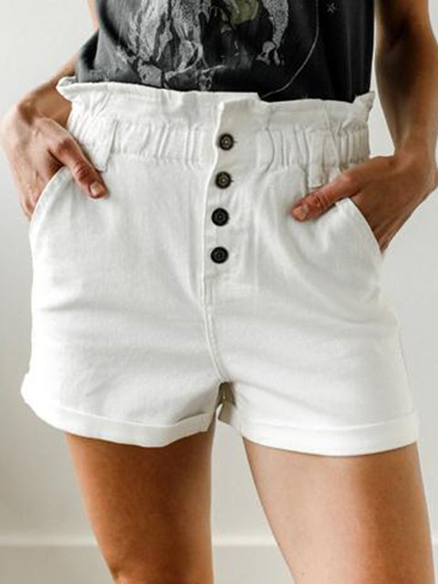 Women Pockets Buttoned Casual Denim Shorts