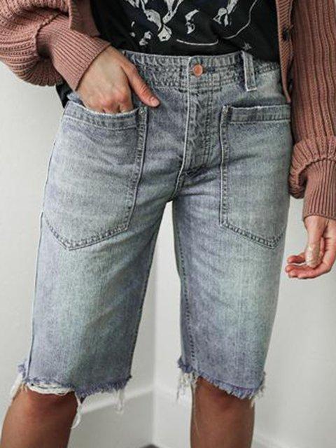 Women Pockets Buttoned Casual Denim Shorts
