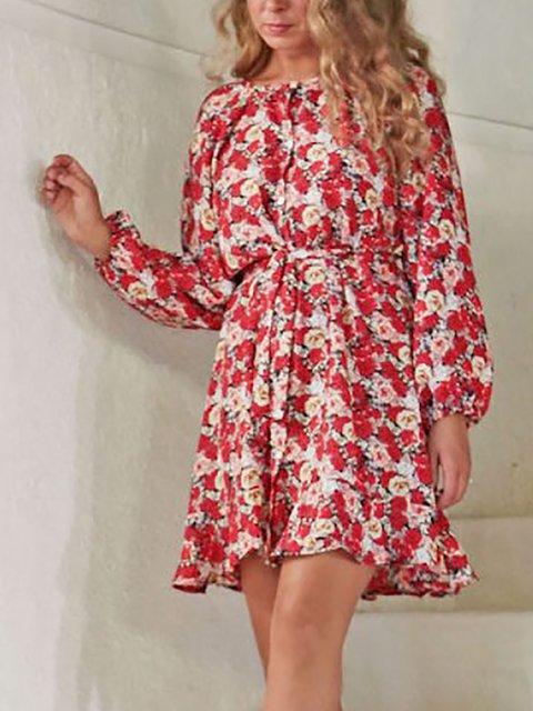 Printed Round Neck 3/4 sleeve Short Dress