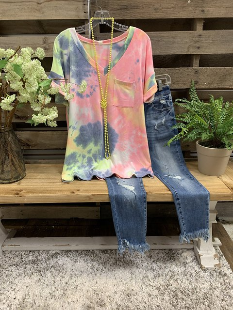Multicolor Ombre/tie-Dye Short Sleeve V Neck Shirts & Tops