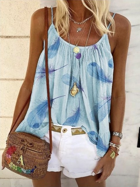 Date Daily Casual Seaside Holiday Leaves Spaghetti Sleeveless Shift Shirts & Tops