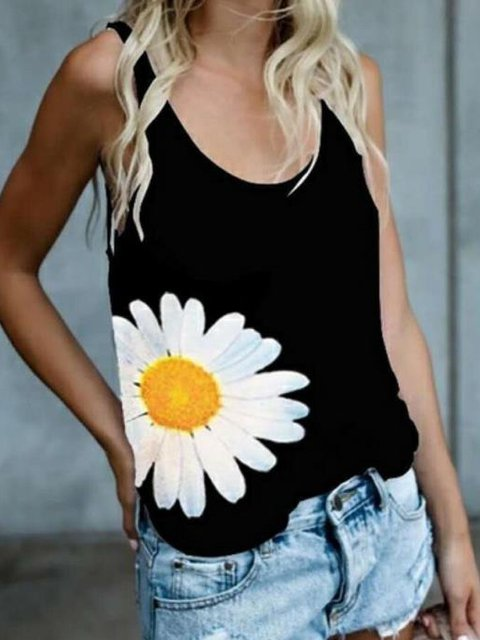 Sleeveless Floral Casual Cotton-Blend Shirts & Tops