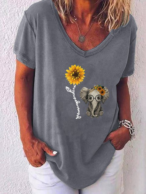 V Neck Casual Floral-Print Shirts & Tops