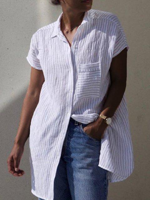 Casual Button-Up Long Tunic Shirts Dress
