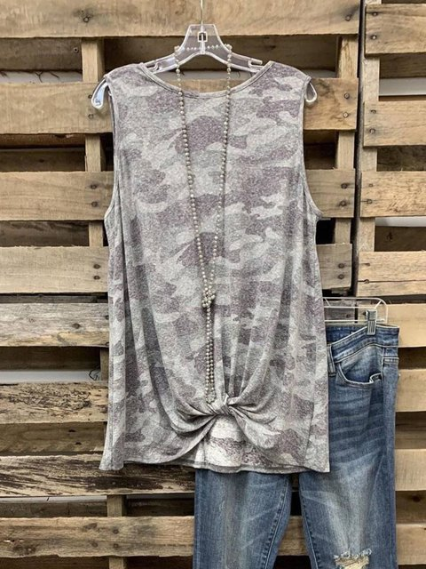 Graphic Crew Neck Cotton-Blend Sleeveless  Tops