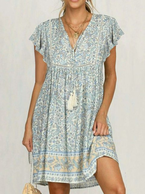 Light Blue Cotton-Blend V Neck Frill Sleeve Dresses