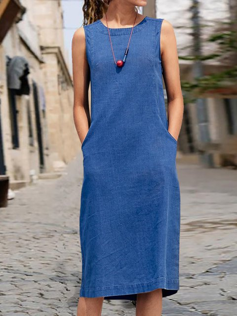 Sleeveless Pockets Midi Dress Plus Size Dresses
