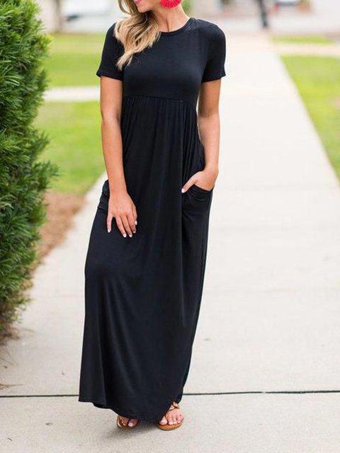 Black Plain Crew Neck Short Sleeve Dresses
