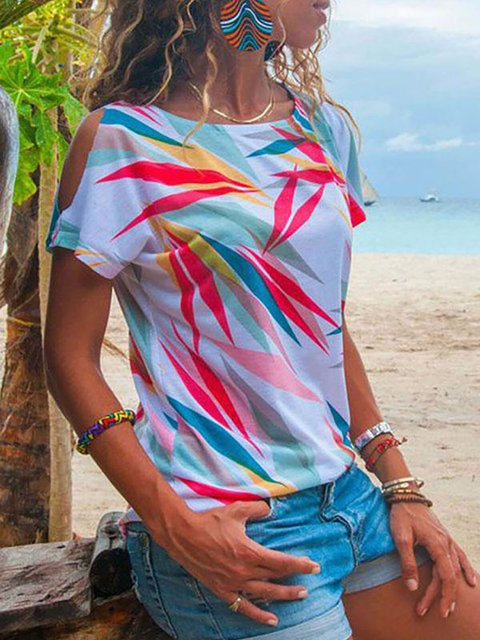 Cold Shoulder Print Casual Short Sleeves T-shirt