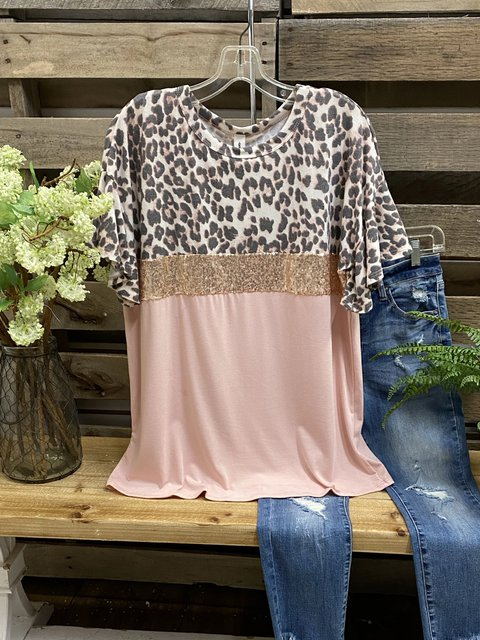 Pink Crew Neck Casual Cotton-Blend Shirts & Tops