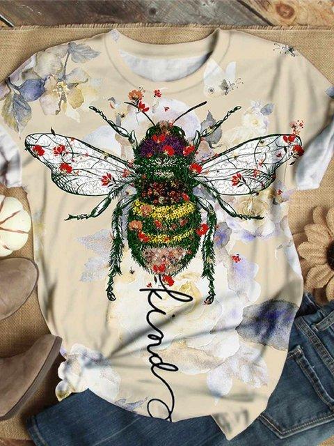 Multicolor Short Sleeve Floral Floral-Print Cotton-Blend Shirts & Tops