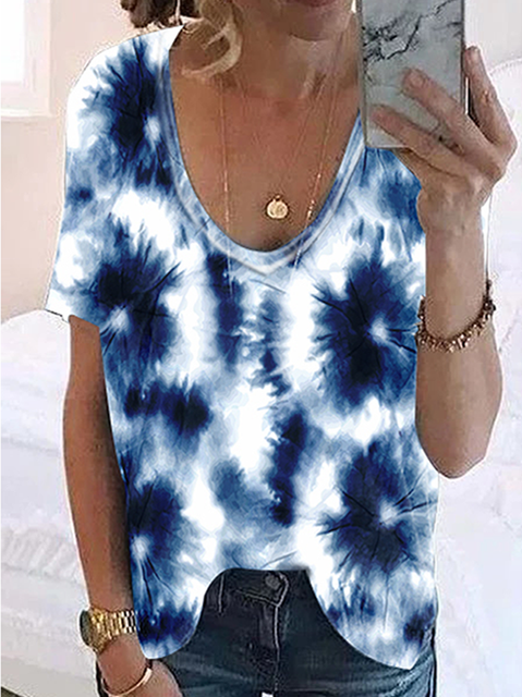 Tie-Dye Casual Short Sleeve T-Shirts & Tops