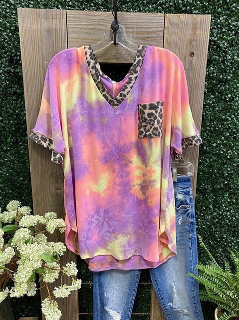 Leopard Casual Cotton Shirts & Tops