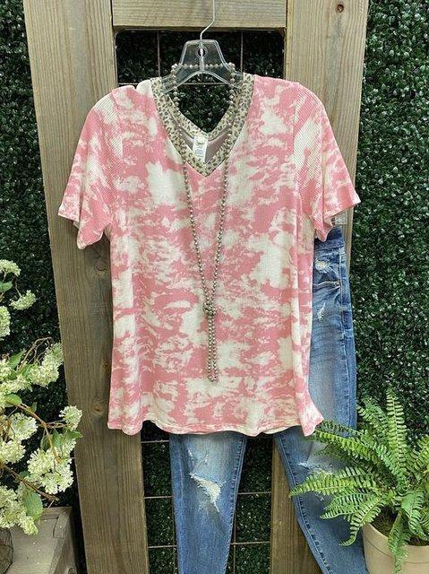 Short Sleeve Casual V Neck Shirts & Tops