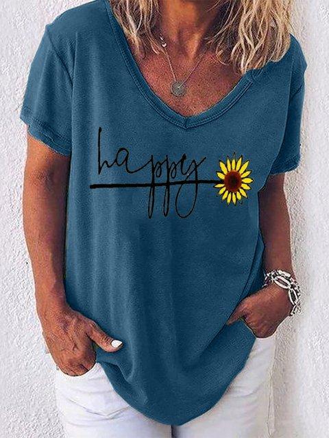 Blue V Neck Short Sleeve Shirts & Tops