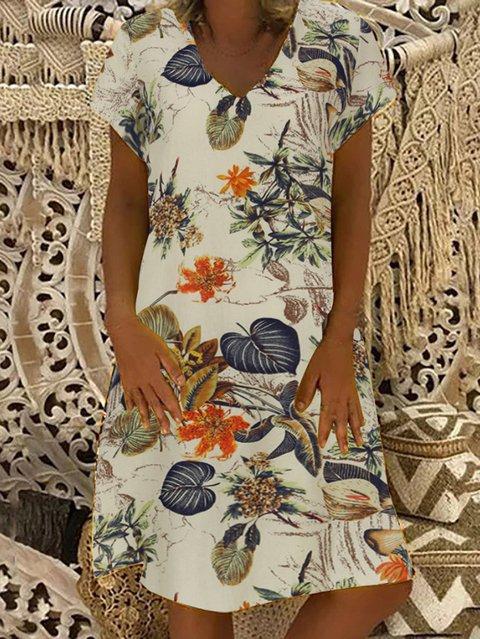 Flower Printed V Neck Short Sleeve A-Line Dresses