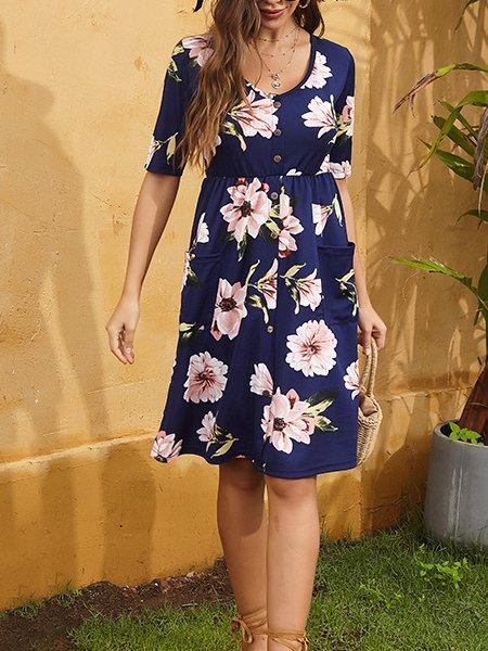Floral Short Sleeve Dresses