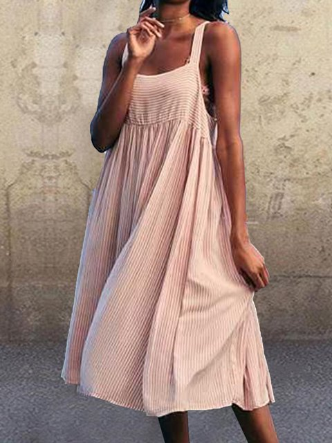 Striped Spaghetti Midi Dress Summer Plus Size Sleeveless Dresses