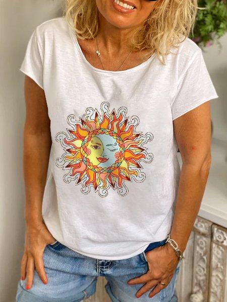 White Printed Short Sleeve Shirts & Tops