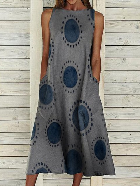 Gray Pockets Round Neck Sleeveless Dresses