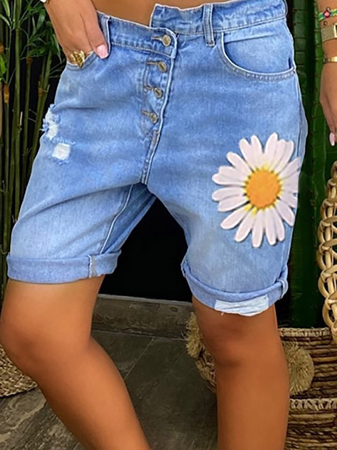 Light Blue Vintage Floral Pants