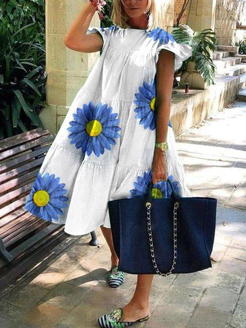 Women Comfy Flower Midi Dress