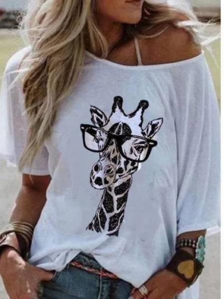 White Animal Printed Casual Shirts & Tops