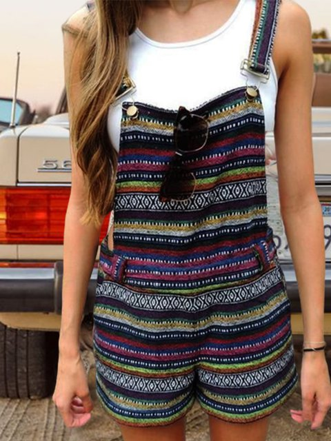 Ethnic style leisure harness jumpsuit