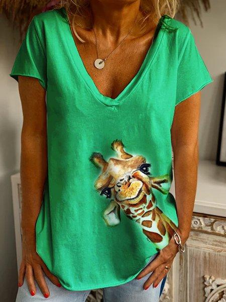 Green Shift Short Sleeve Cotton Shirts & Tops