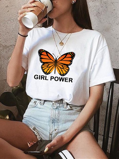 Casual Floral-Print Crew Neck Cotton Shirts & Tops