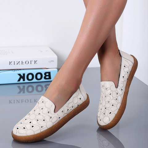 Women Embroidery Hollow-out Genuine Leather Flats