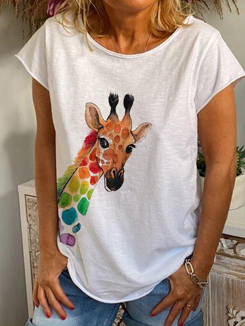 White Short Sleeve Animal Crew Neck Shirts & Tops