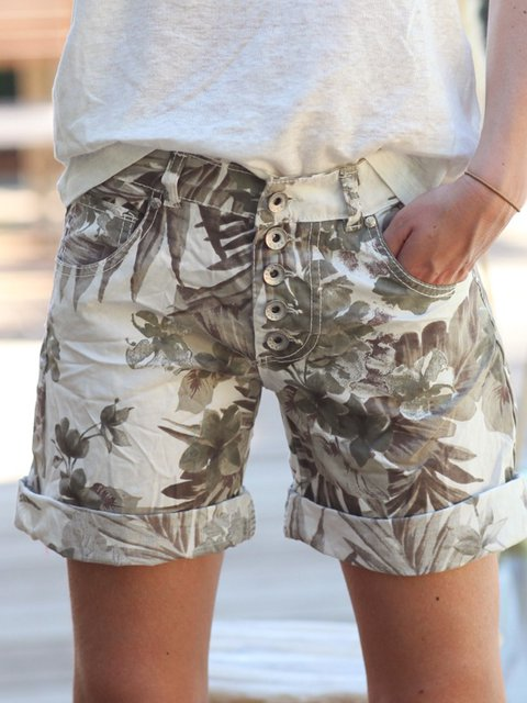 Khaki Floral Printed Casual Buttoned Short Pants