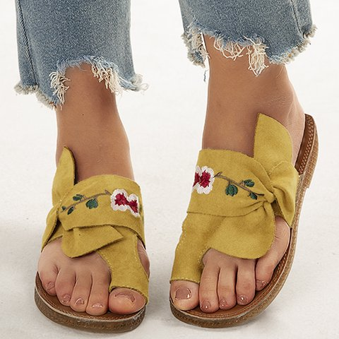 Summer Fleece Embroidery Slippers