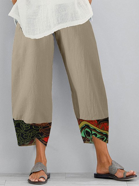 Cotton-Blend Printed Patchwork Pants
