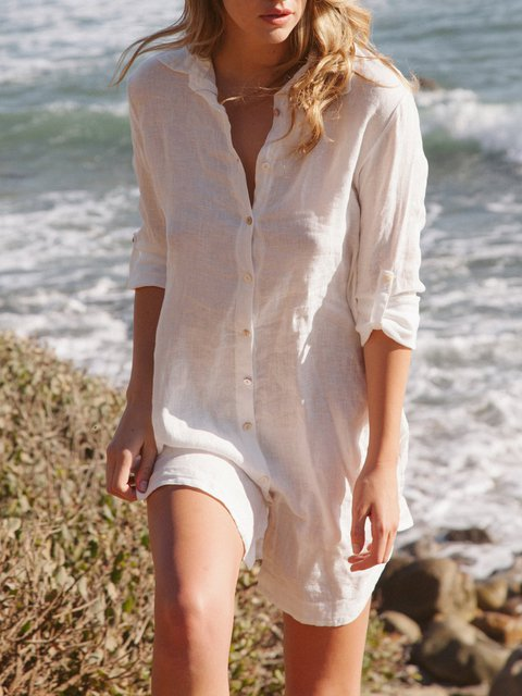 Casual Comfort Linen Cover-up Long Shirts Dress with Side Pockets