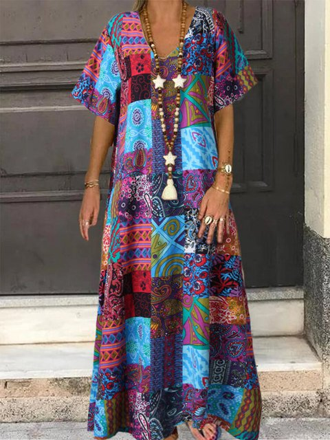 Vintage Ethnic Print V-neck Maxi Dress