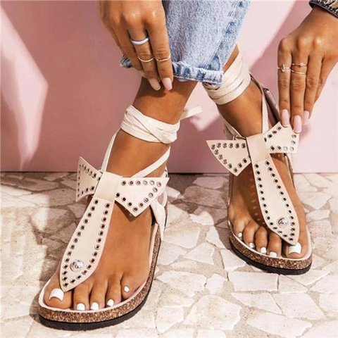 Studded Bow Ankle Strap Sandals