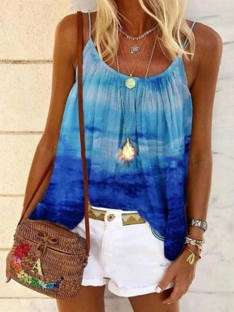 Tie-Dye A-Line Round Neck Casual Vests Camisole Tops