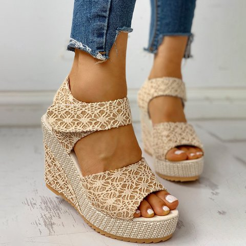 Pastoral Romantic Weave Wedge Sandals