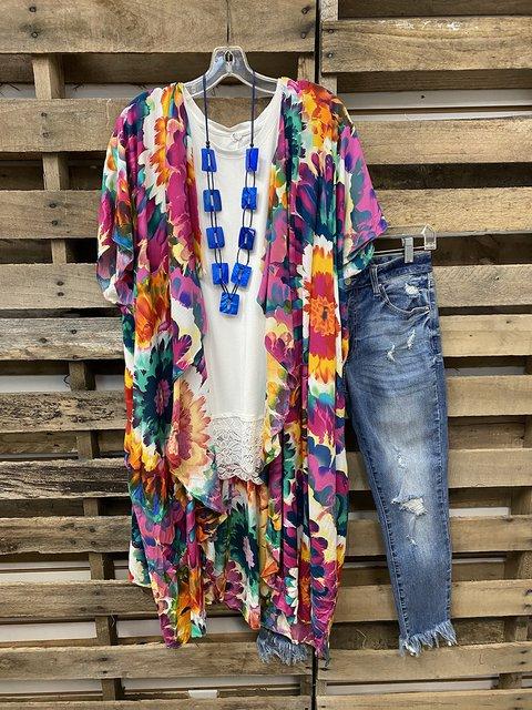Sunflower Printed Tie-dye Contrast Sunscreen Coat