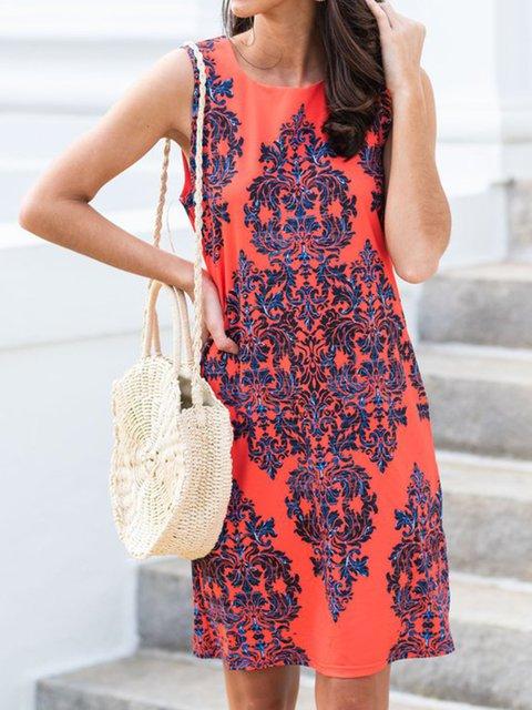 Sleeveless Mini Dress Summer Plus Size Printed Dresses